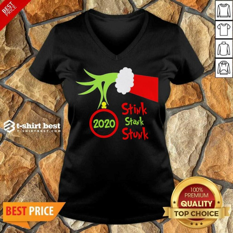 Grinch Hand Holding Ornament 2020 Stink Stank Stunk Merry Christmas V-neck - Design By 1tees.com