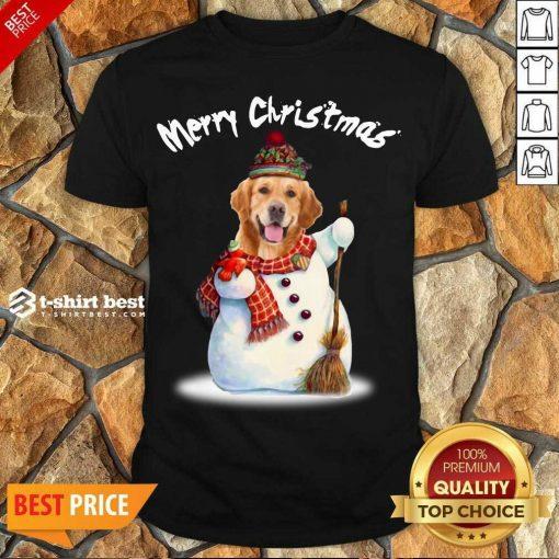 Pretty Merry Christmas Snow Golden Retriever Shirt - Design By 1tees.com