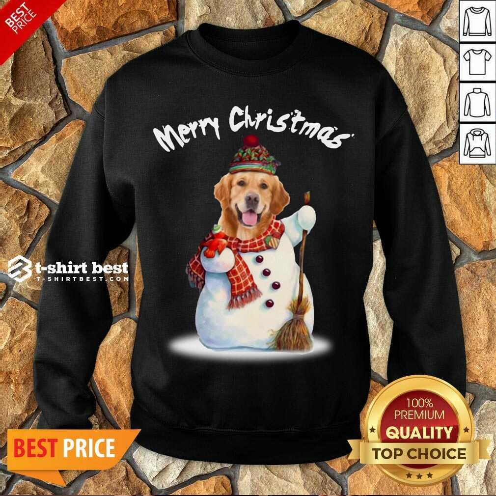 Merry Christmas Snow Golden Retriever Sweatshirt - Design By 1tees.com