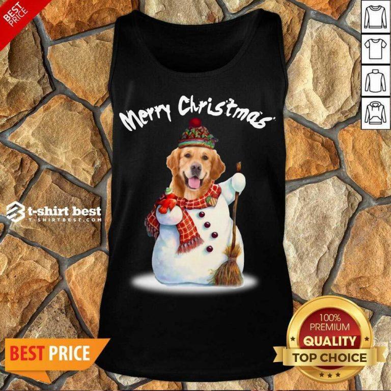 Merry Christmas Snow Golden Retriever Tank Top - Design By 1tees.com