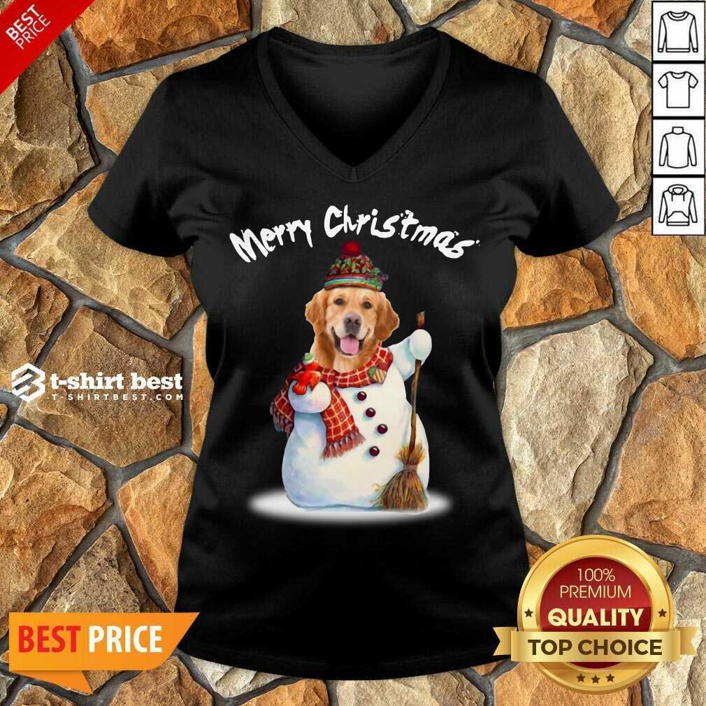 Merry Christmas Snow Golden Retriever V-neck - Design By 1tees.com