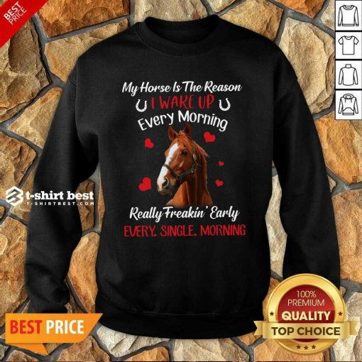 My Horse Is The Reason I Wake Up Every Morning Every Single Morning Sweatshirt - Design By 1tees.com