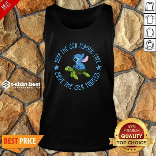 Stitch On The Turtle Keep The Sea Plastic Free Save The Sea Turtles Tank Top - Design By 1tees.com
