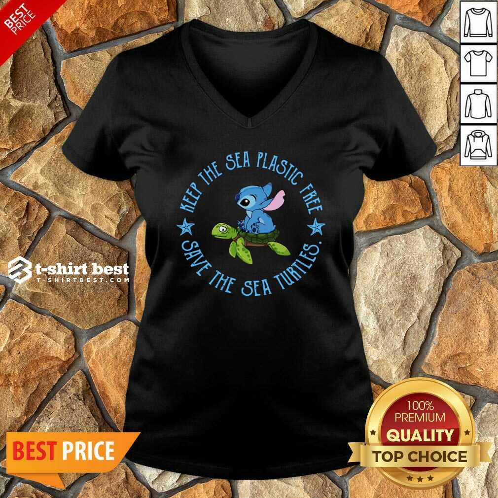 Stitch On The Turtle Keep The Sea Plastic Free Save The Sea Turtles V-neck - Design By 1tees.com