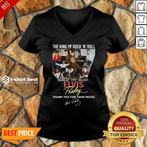 The King Of Rock N Roll 67 Years Of Elvis Thank You For Your Music Signatures V-neck - Design By 1tees.com