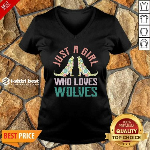 Wolf Just A Girl Who Loves Wolves V-neck - Design By 1tees.com