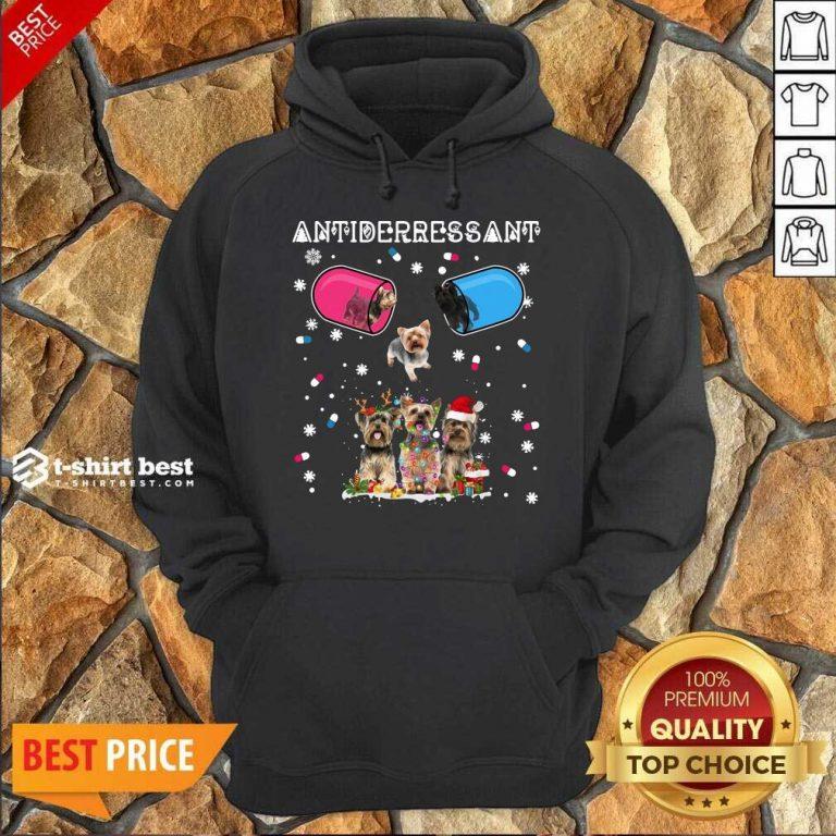Yorkshire Terrier Antidepressant Ugly Christmas Hoodie - Design By 1tees.com
