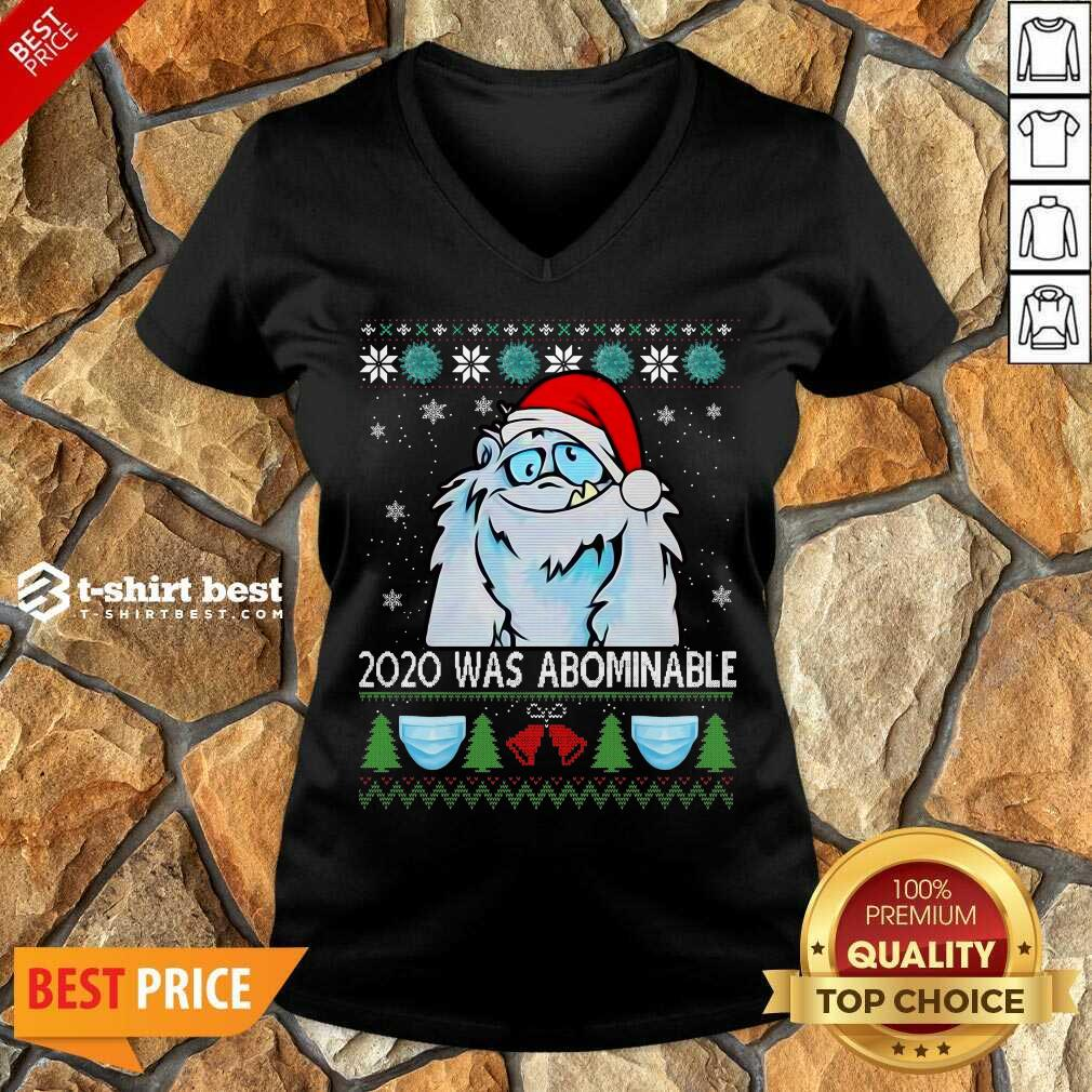 2020 Was Abominable Ugly Merry Christmas V-neck - Design By 1tees.com