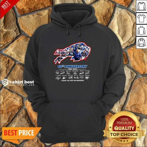 Buffalo Bills 60th Anniversary 1960 2020 Thank You For The Memories Signatures Hoodie - Design By 1tees.com