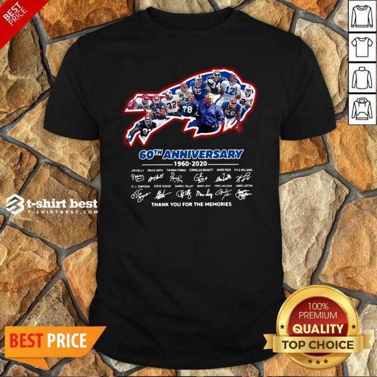 Buffalo Bills 60th Anniversary 1960 2020 Thank You For The Memories Signatures Shirt - Design By 1tees.com