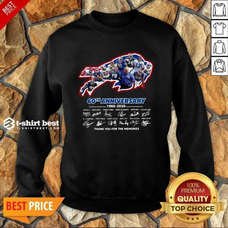 Buffalo Bills 60th Anniversary 1960 2020 Thank You For The Memories Signatures Sweatshirt - Design By 1tees.com