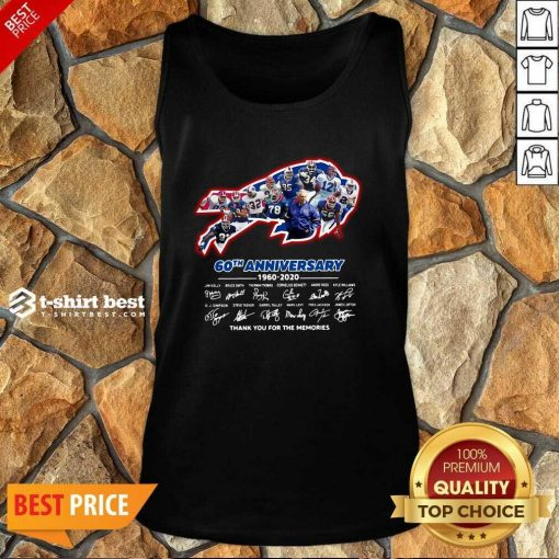 Buffalo Bills 60th Anniversary 1960 2020 Thank You For The Memories Signatures Tank Top - Design By 1tees.com