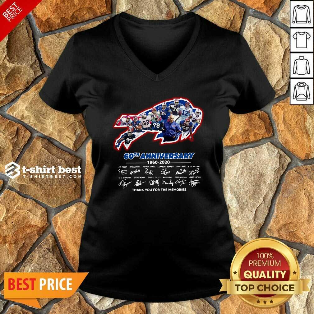 Buffalo Bills 60th Anniversary 1960 2020 Thank You For The Memories Signatures V-neck - Design By 1tees.com