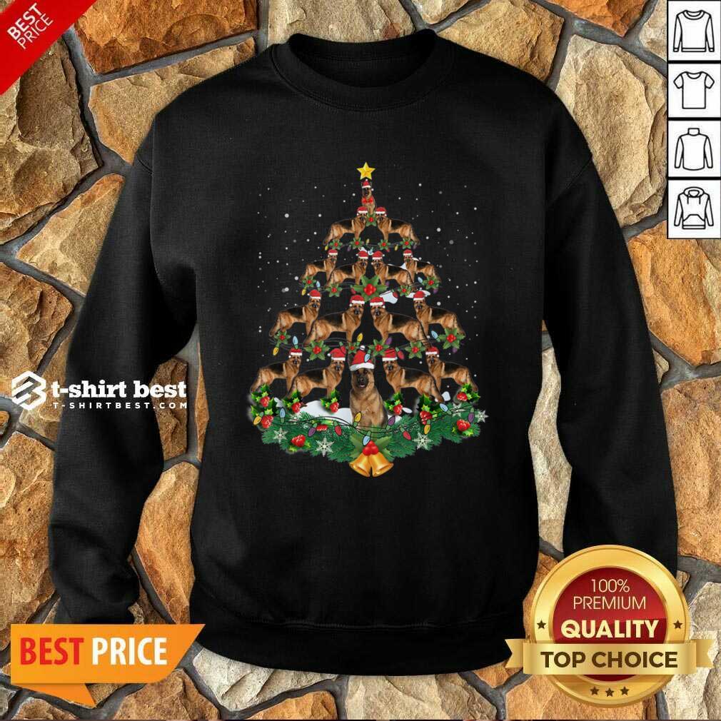 German Shepherd Dog Christmas Tree Sweatshirt - Design By 1tees.com