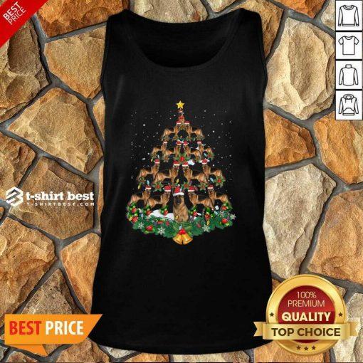 German Shepherd Dog Christmas Tree Tank Top - Design By 1tees.com