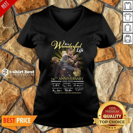 It's A Wonderful Life 74th Anniversary 1946 2020 Thank You For The Memories Signatures V-neck - Design By 1tees.com