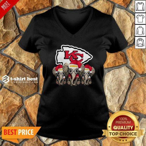 Kansas City Chiefs Elephant Christmas V-neck - Design By 1tees.com