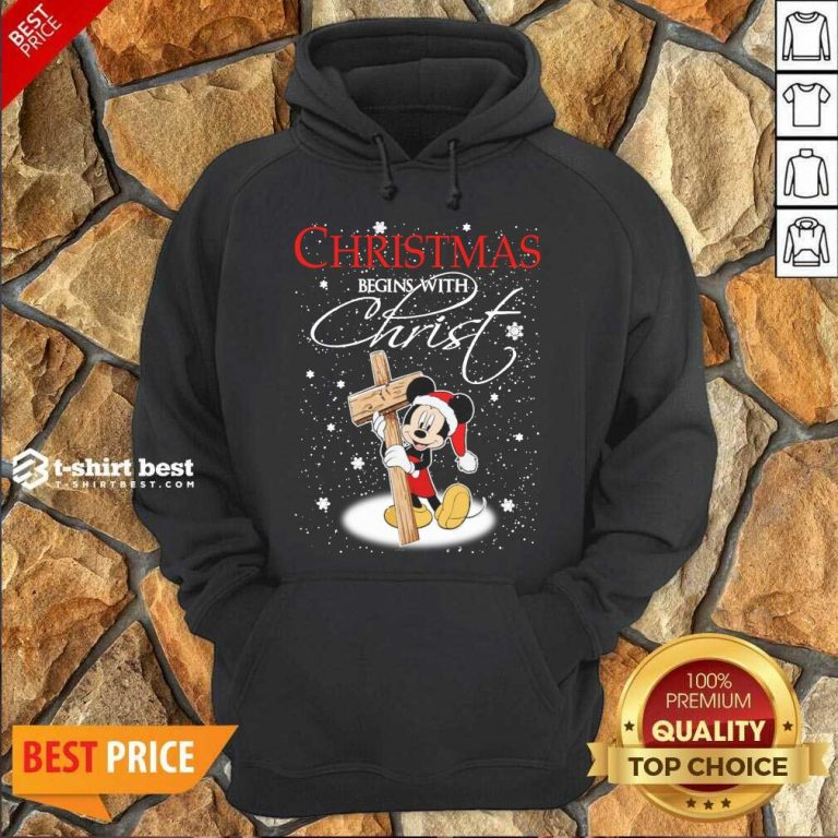 Mickey Mouse Christmas Begins With Christ Hoodie - Design By 1tees.com