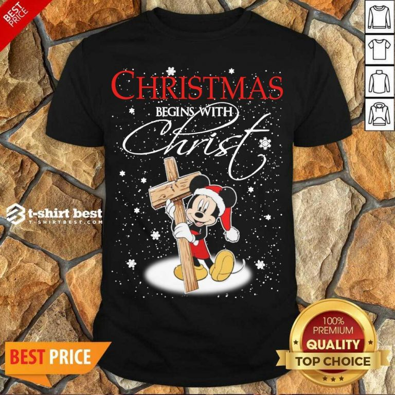 Top Mickey Mouse Christmas Begins With Christ Shirt - Design By 1tees.com