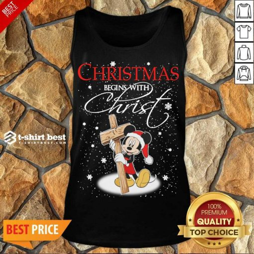 Mickey Mouse Christmas Begins With Christ Tank Top - Design By 1tees.com