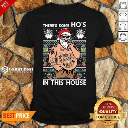 Top Santa Wap There's Some Ho's In This House Ugly Christmas Shirt - Design By 1tees.com