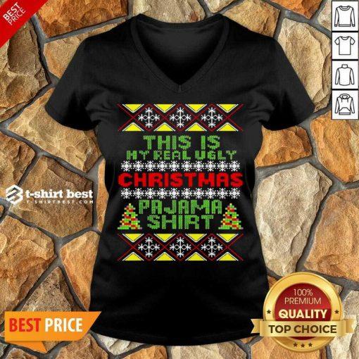 This Is My Christmas Pajama Shirt Ugly Christmas V-neck - Design By 1tees.com