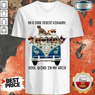 Frightened On A Dark Desert Highway Cool Wind In My Hair 8 Cat On The Car V-neck - Design by T-shirtbest.com