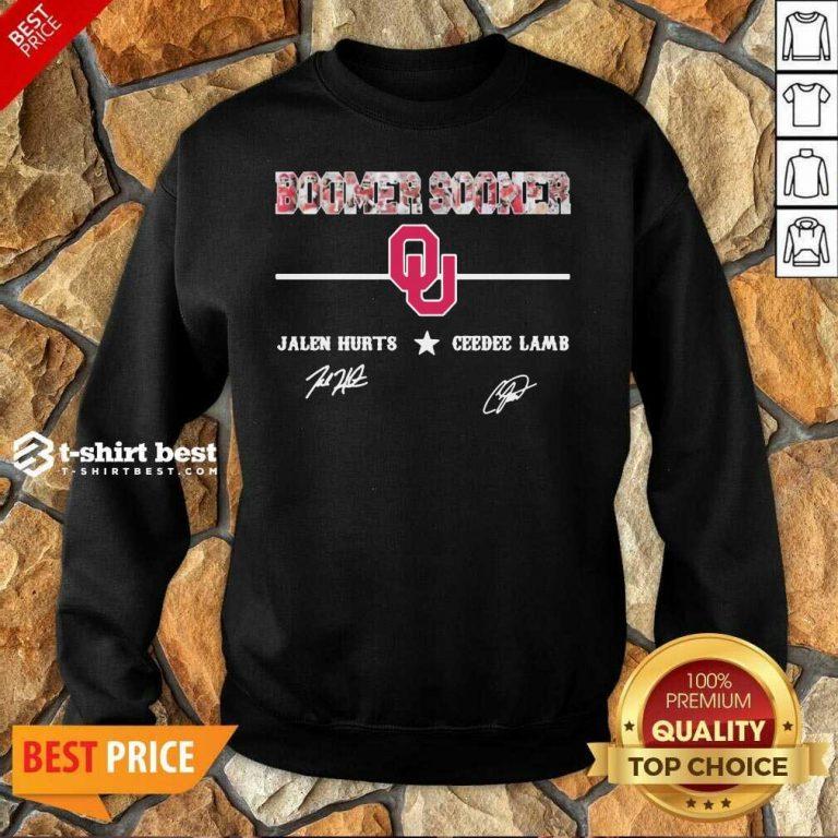 Oklahoma Sooners Jalen Hurts And Ceedee Lamb Signatures Sweatshirt - Design By 1tees.com