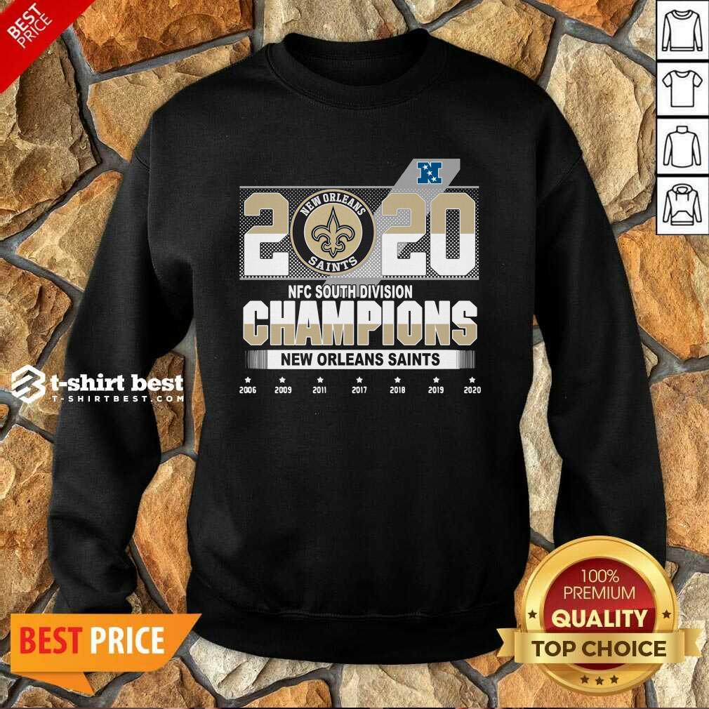 2020 Afc North Division Champions New Orleans Saints 2008 2009 2011 2017 Sweatshirt - Design By 1tees.com