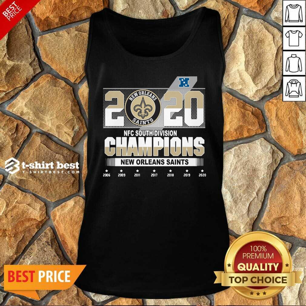 2020 Afc North Division Champions New Orleans Saints 2008 2009 2011 2017 Tank Top - Design By 1tees.com