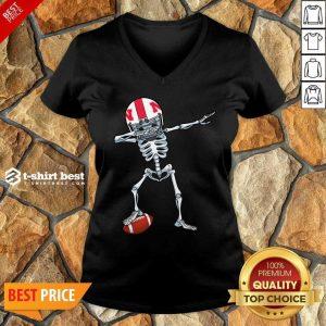Skeleton Dabbing Nebraska Cornhuskers V-neck - Design By 1tees.com
