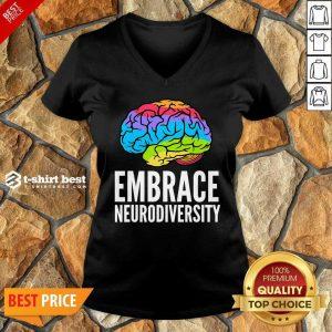 Embrace Neurodiversity Brain Adhd Autism Asd Awareness V-neck - Design By 1tees.com