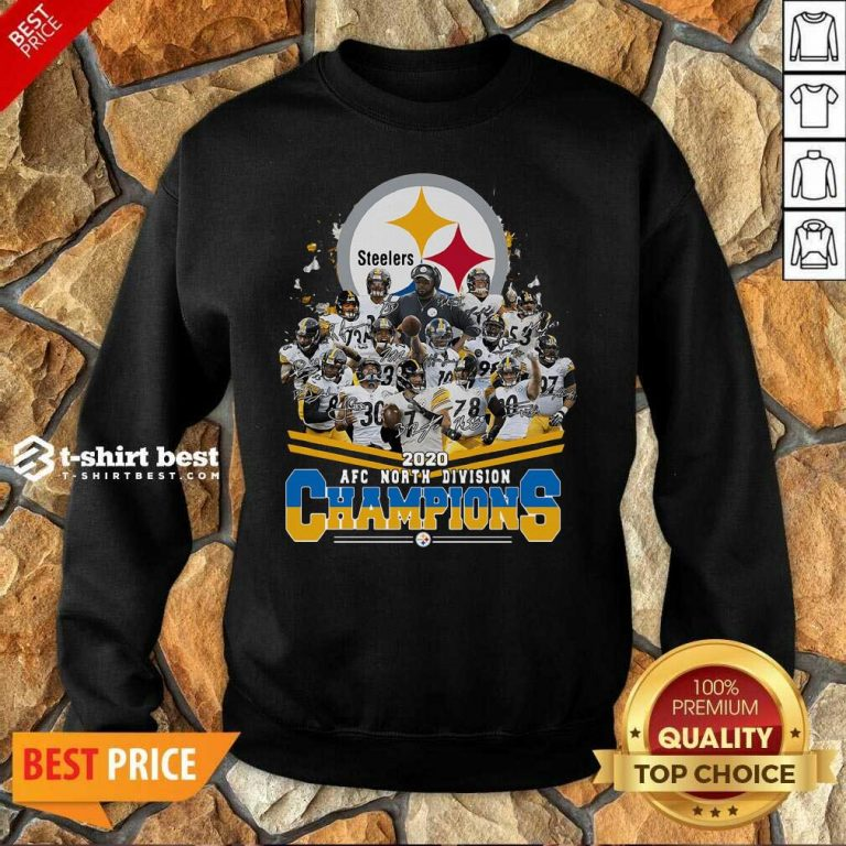 Pittsburgh Steelers 2020 AFC North Division Champion Signatures Sweatshirt - Design By 1tees.com