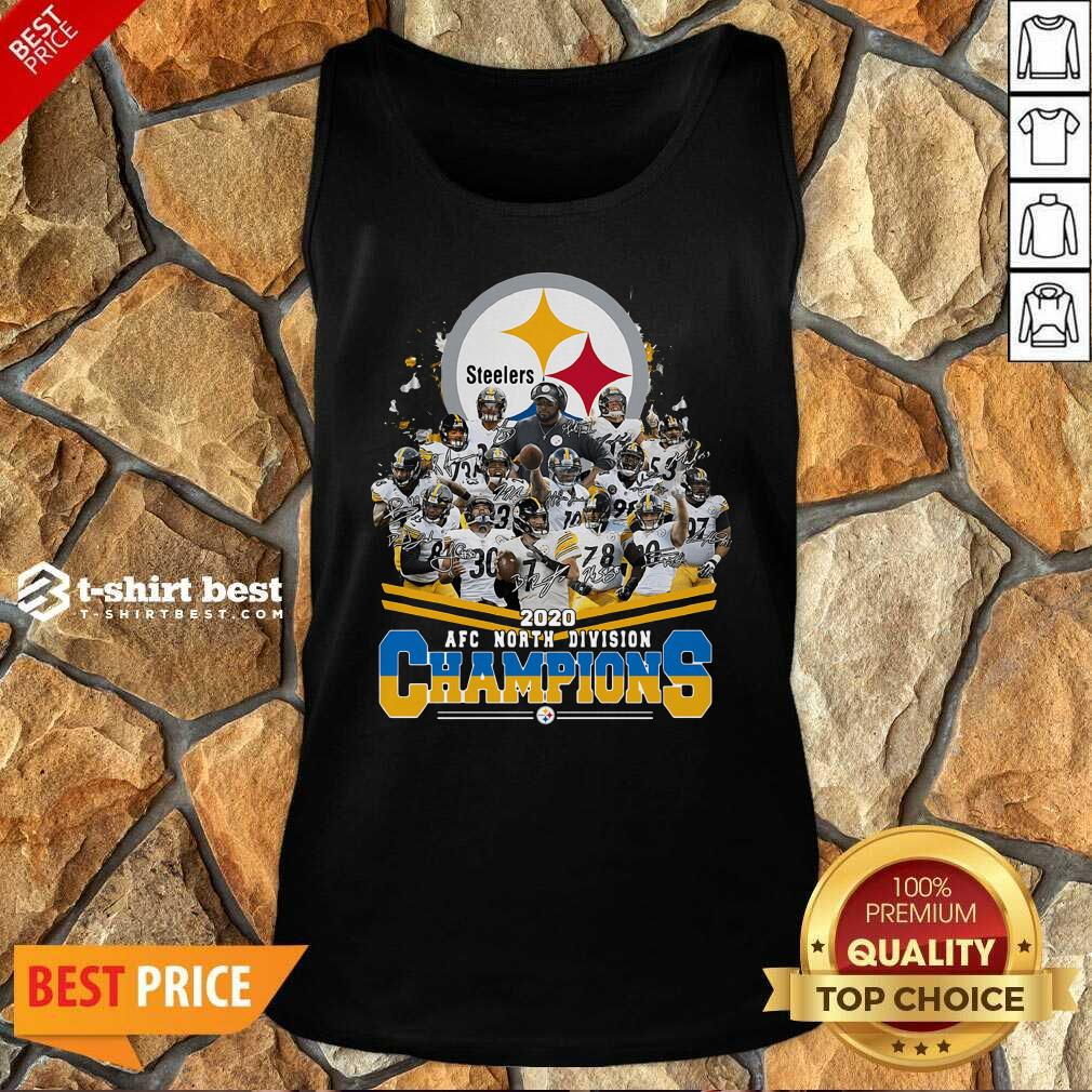 Pittsburgh Steelers 2020 AFC North Division Champion Signatures Tank Top - Design By 1tees.com