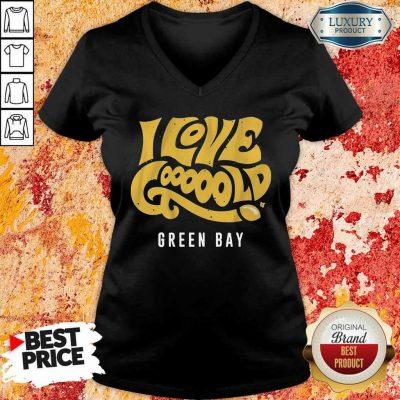 Irritated 9Love Gooooold Green Bay Football V-neck