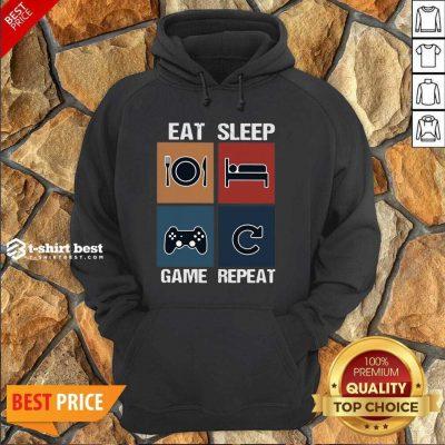 Eat Sleep Game Repeat Vintage Hoodie - Design By 1tees.com