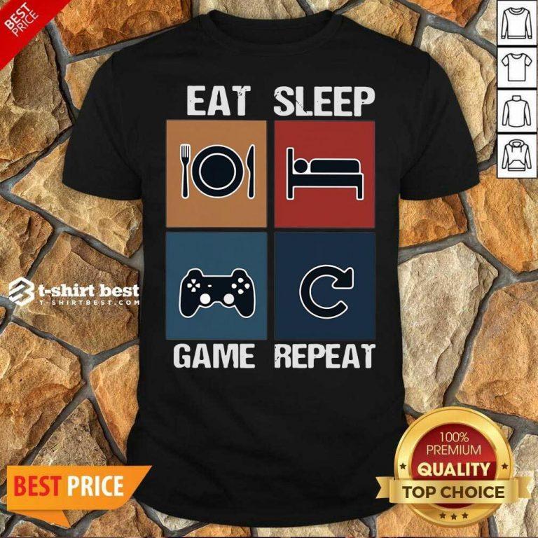Eat Sleep Game Repeat Vintage Shirt - Design By 1tees.com