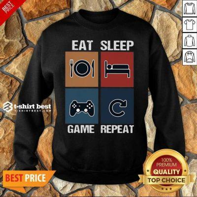 Eat Sleep Game Repeat Vintage Sweatshirt - Design By 1tees.com