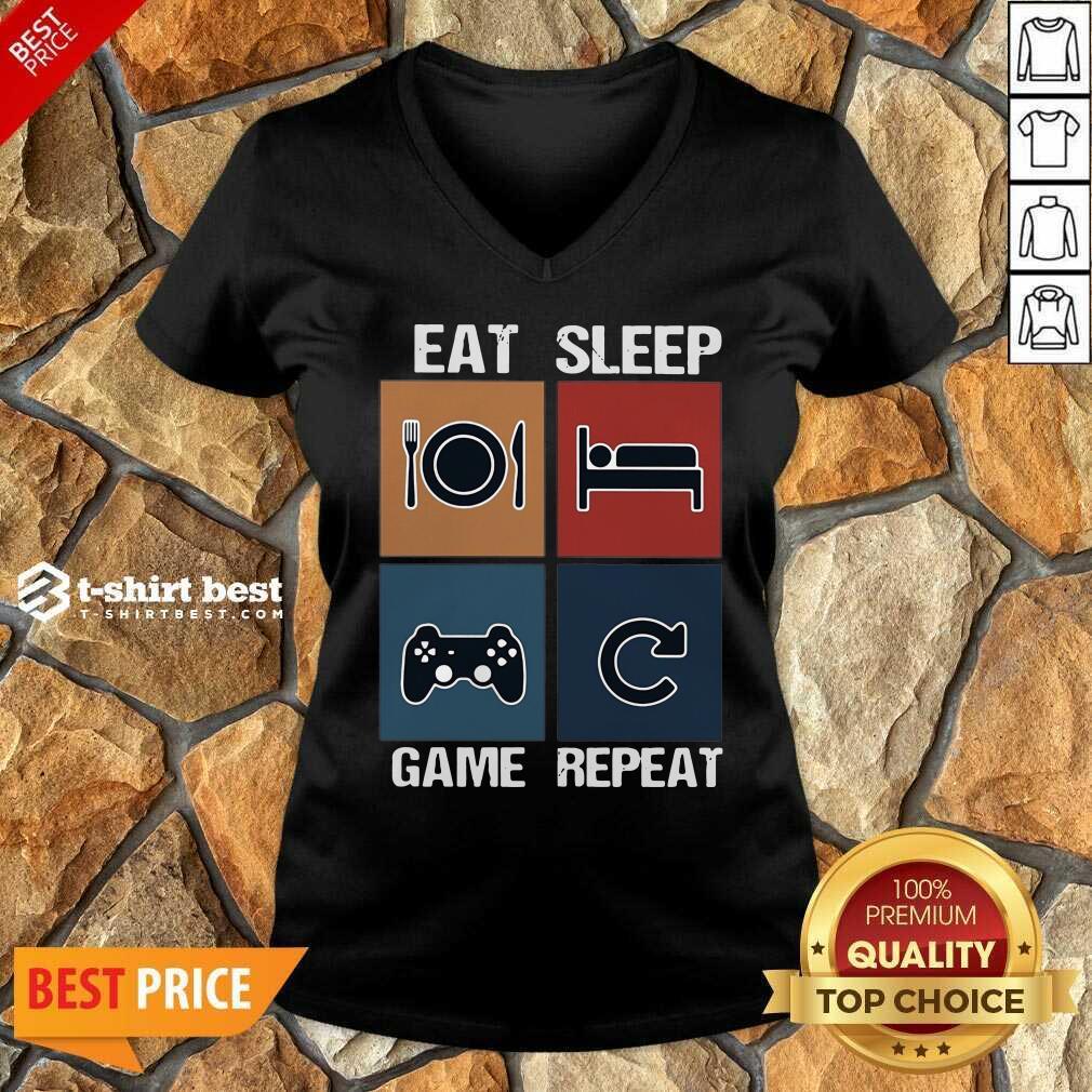 Eat Sleep Game Repeat Vintage V-neck - Design By 1tees.com