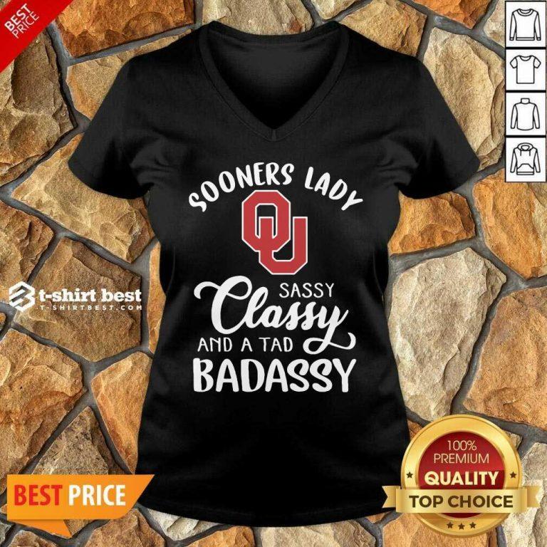 Oklahoma Sooners Lady Sassy Classy And A Tad Badassy V-neck - Design By 1tees.com