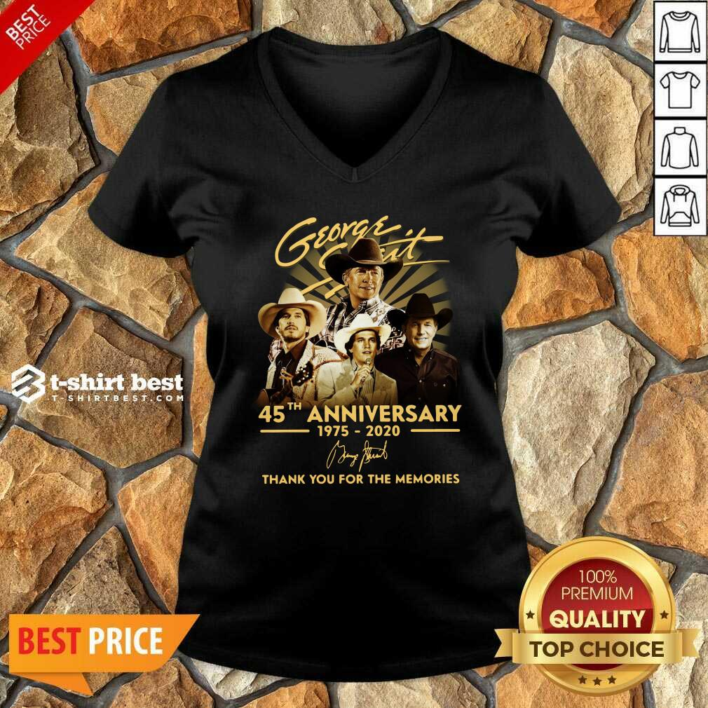 George Strait 45th Anniversary 1975 2020 Thank You For The Memories Signature V-neck - Design By 1tees.com
