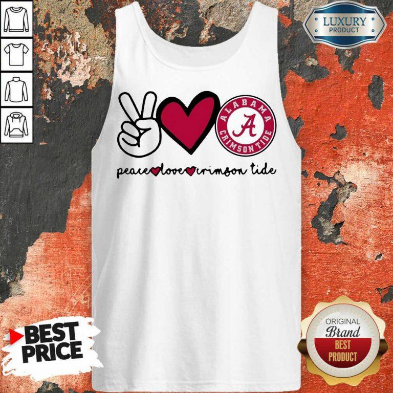 Original Peace Love And Alabama Crimson Logo 2021 Tank Top