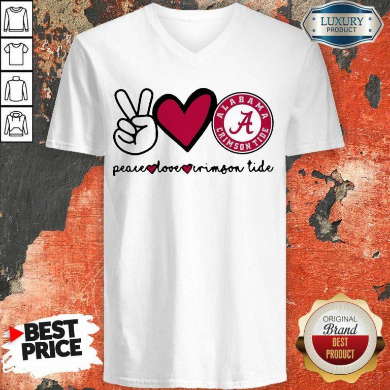 Original Peace Love And Alabama Crimson Logo 2021 V-neck