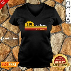 310 Hawthorne California Vintage Sunset With Area Code V-neck - Design By 1tees.com