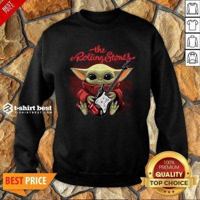 Baby Yoda Hug Guitar The Rolling Stones Sweatshirt - Design By 1tees.com