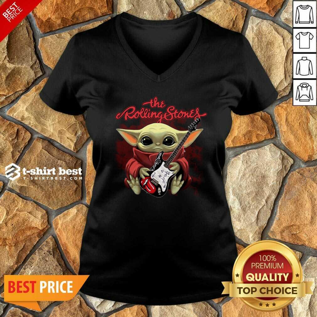 Baby Yoda Hug Guitar The Rolling Stones V-neck - Design By 1tees.com