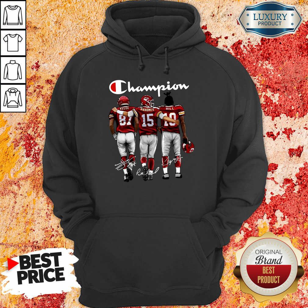 Thoughtful Kansas City Chiefs 3 Champion Kelce Mahomes Hill Signatures Hoodie - Design by T-shirtbest.com