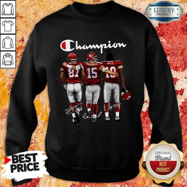 Thoughtful Kansas City Chiefs 3 Champion Kelce Mahomes Hill Signatures Sweatshirt - Design by T-shirtbest.com