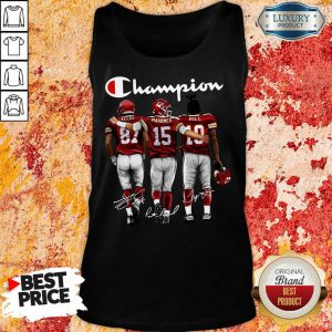 Thoughtful Kansas City Chiefs 3 Champion Kelce Mahomes Hill Signatures Tank Top - Design by T-shirtbest.com