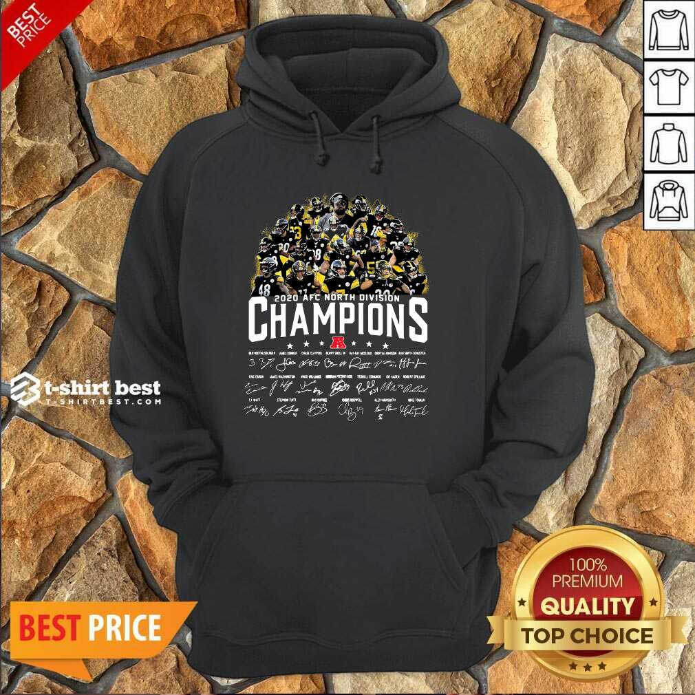 Pittsburgh Steelers 2020 AFC North Division Champion Signatures Hoodie - Design By 1tees.com